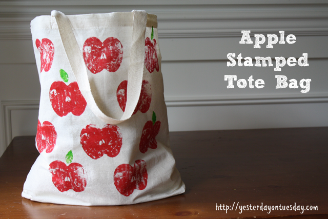 DIY Apple Stamped Tote Bag