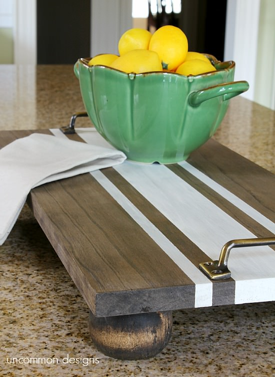 DIY Ticking Stripe Wooden Tray from Uncommon Designs