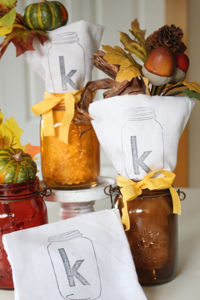 DIY Mason Jar Stamped Napkins