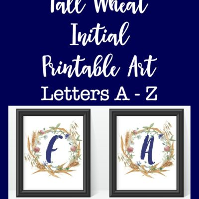Fall Wheat Initial Printable Art