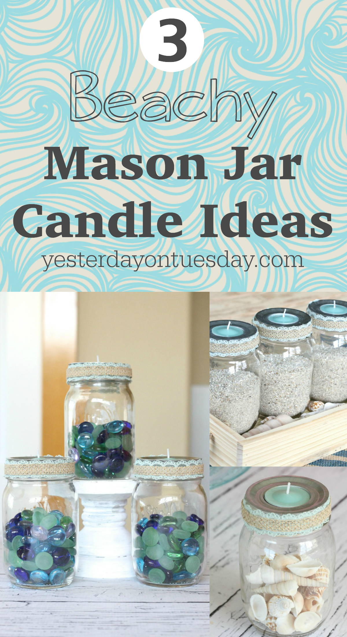 3 Beachy Mason Jar Candle Ideas