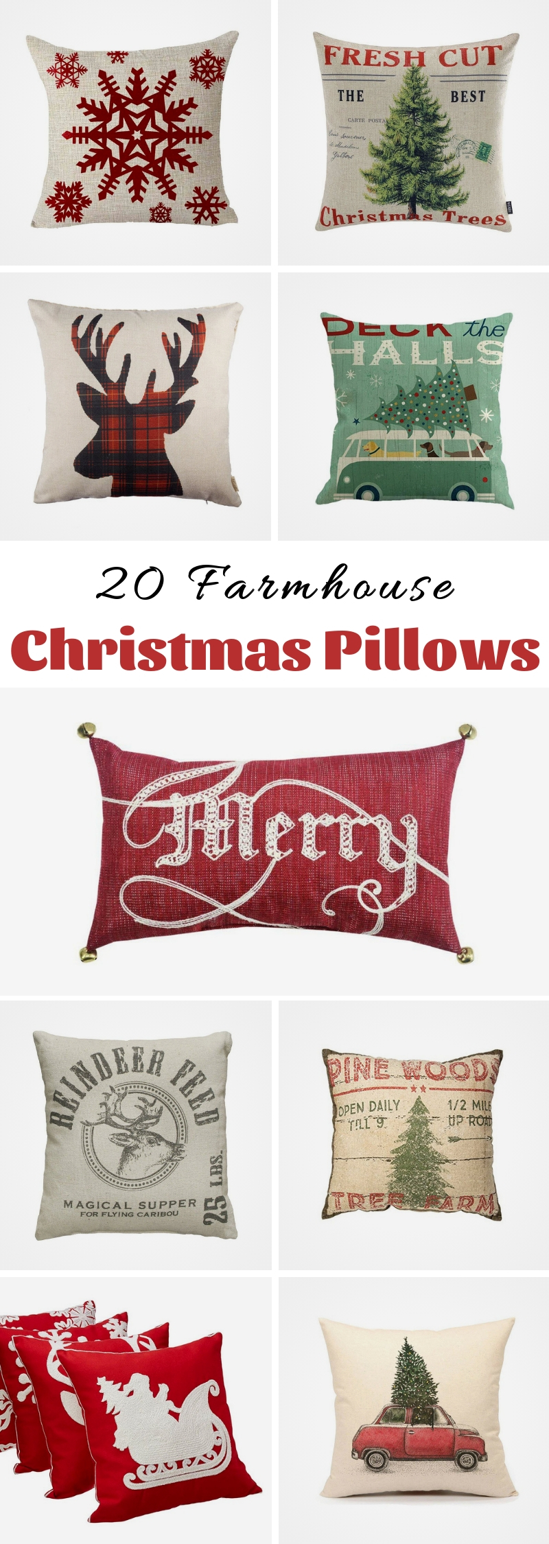 20 Farmhouse Christmas Pillows