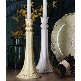 White+Pierced+Scalloped+Ceramic+Candlestick
