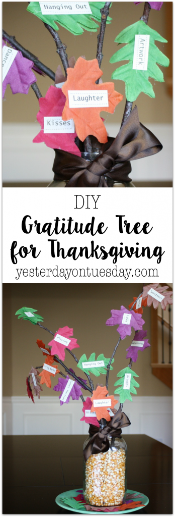 DIY Gratitude Tree for Thanksgiving: Easy project for celebrating Thanksgiving, fun mason jar craft too!