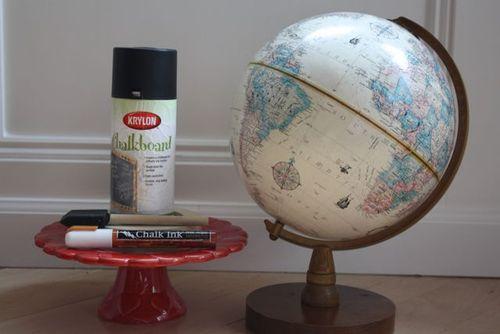 Chalkboard Globe  - Yesterday on Tuesday #chalkboard #chalkboardpaint