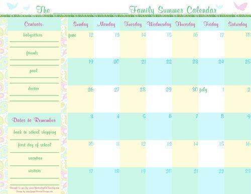 Summer Planning Calender 1