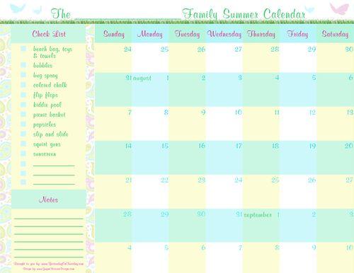 Summer Planning Calender 2