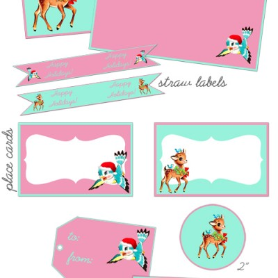 Pink & Aqua Christmas Party Printable Freebies!