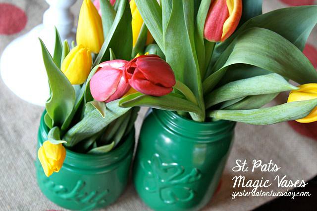 St. Pat's Magic Vases: Create festive vases for St. Patricks Day with Mason Jars