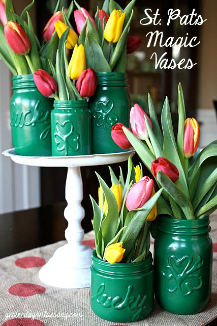 St. Pat's Magic Vases: Create festive vases for St. Patricks Day with Mason Jars