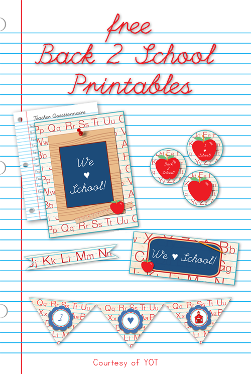 Back to School Printables - Yesterday on Tuesday