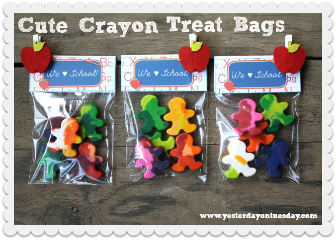 Cute Crayon Treat Bags - Yesterday on Tuesday