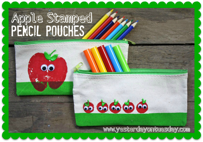 Apple Stamped Pencil Pouches