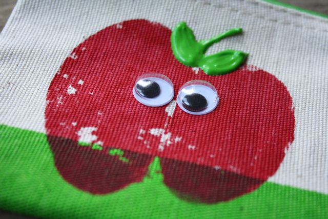 Googly Eyes Apple Stamped Pencil Pouch - Yesterday on Tuesday