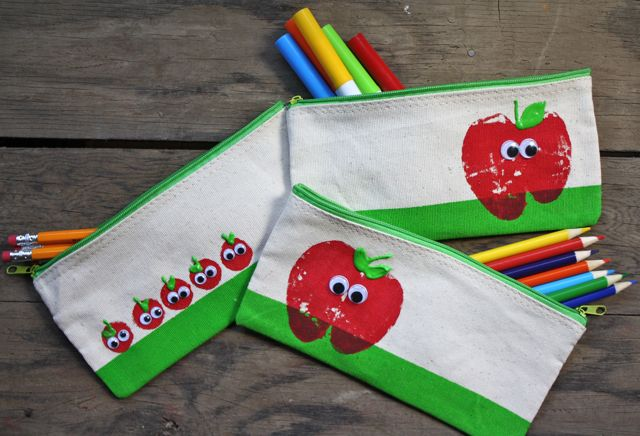 3 Apple Stamped Pencil Pouches - Yesterday on Tuesday