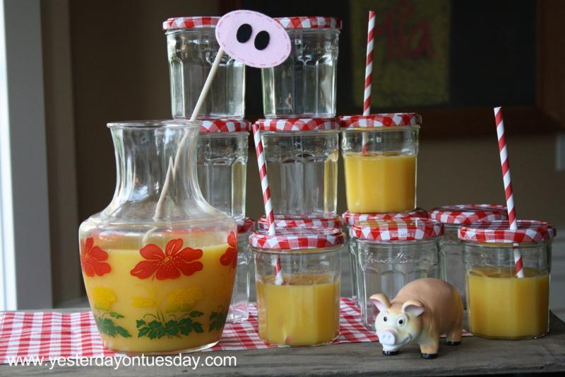 Orange Juice Jam Jars - Yesterday on Tuesday #jamjarglasses #glassjars #jamjars