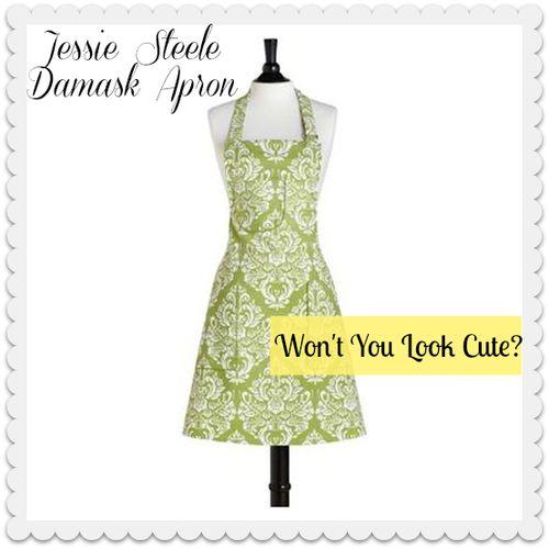 Jessie Steele Green Damask Apron