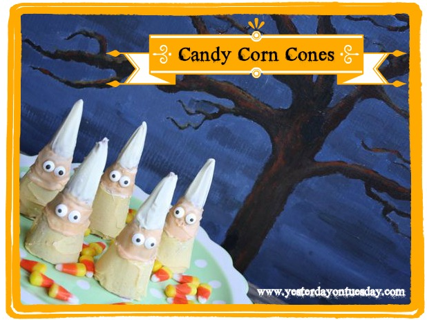 Candy Corn Cones - Yesterday on Tuesday #halloween