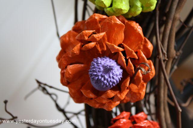 Easy Rose Wreath - Yesterday on Tuesday #marthastewarthalloween