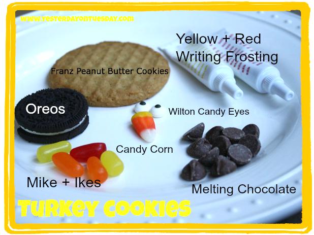 Turkey Cookies - Yesterday on Tuesday #thanksgiving #turkey