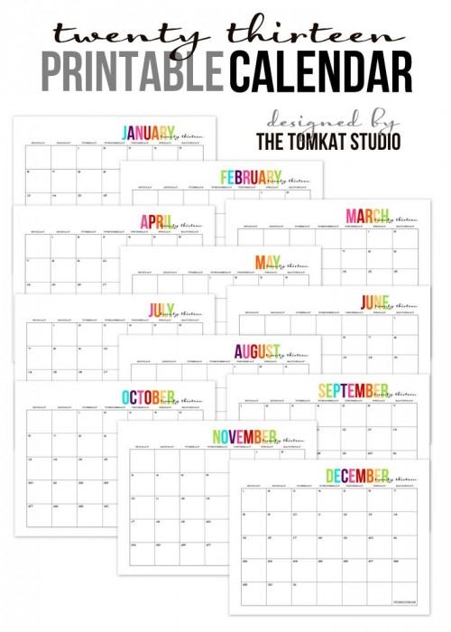 2013 Printable Calendar - The TomKat Studio #freecalendar