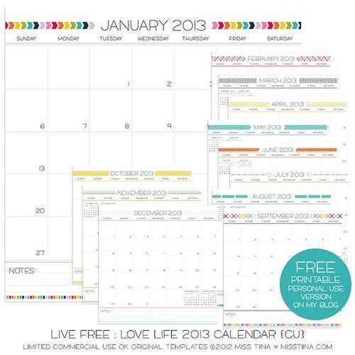 Live Free Love Life Calendar - Miss Tina #freecalendar