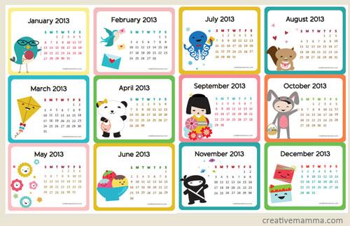 Mini Kawaii Calendar - Creative Mamma #freecalendar