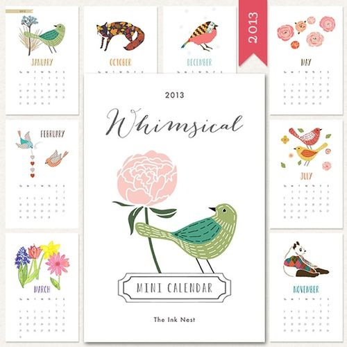 Whimsical Calendar - The Ink Nest #freecalendar