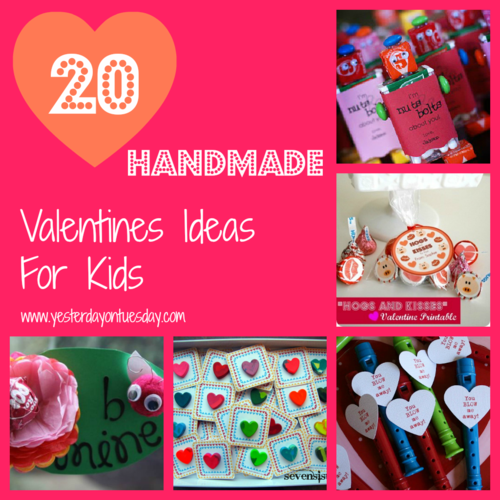 20 Handmade Valentines Ideas for Kids - Yesterday on Tuesday #valentines #kidsvalentines #valentinesday