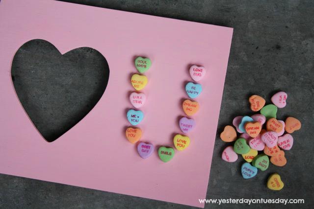 Valentine Heart U Frame - Yesterday on Tuesday #valentinesday #folkartpaint #valentinecrafts #conversationhearts
