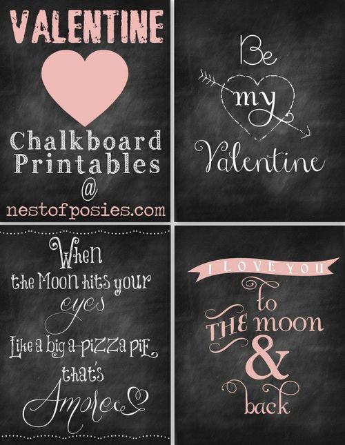 Valentine Chalkboard Printables - Nest of Posies