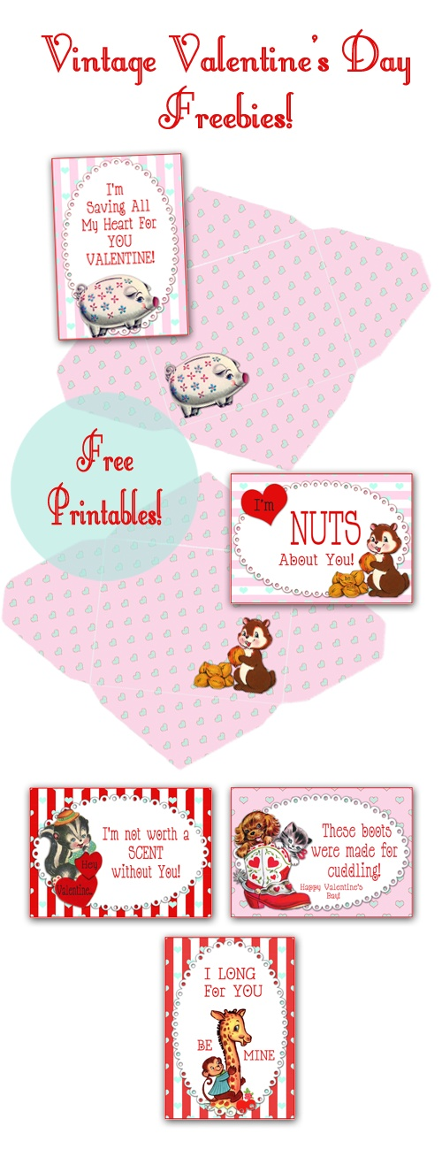 Vintage Valentines - Yesterday on Tuesday + Free Pretty Things for You