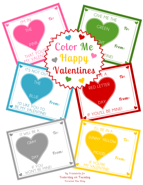 Color Me Happy Valentines - Yesterday on Tuesday #valentines #kidsvalentines #freevalentines #crayons #crayolacrayons