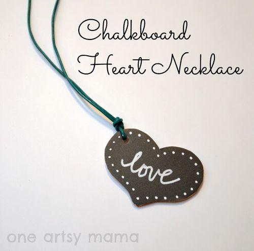 Chalkbard Heart Necklace - One Artsy Mama