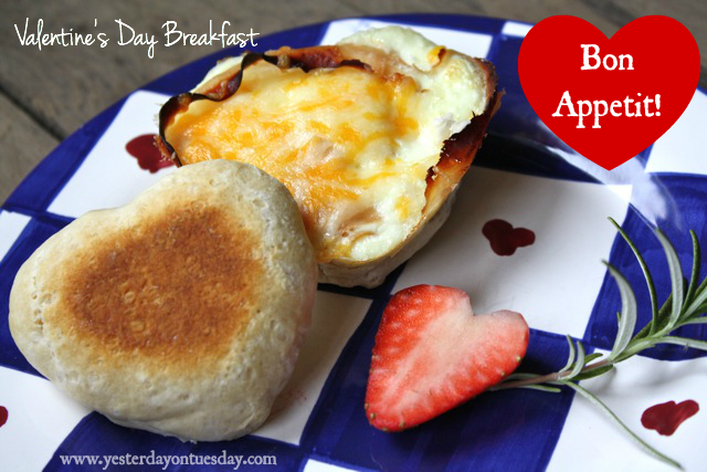 Easy Valentine's Day Breakfast with heart shaped biscuits and eggs #valentinesday