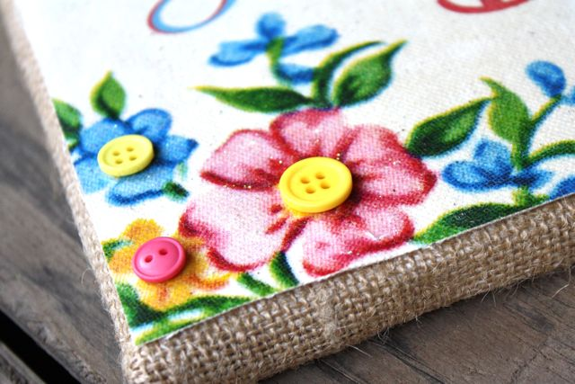 Buttons on Burlap Wrapped Art