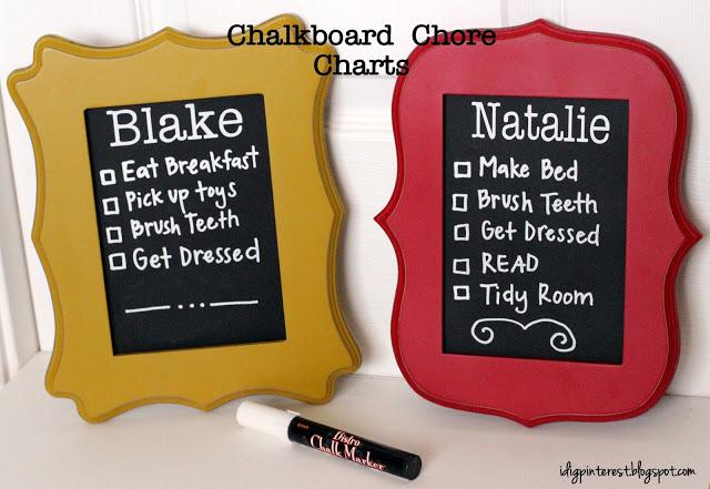 Creating a chore chart on chalkboard