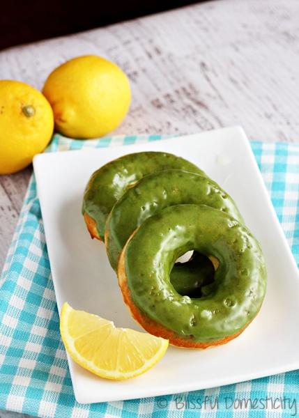 Baked Lemon Doughnuts with Matcha Green Tea Glaze