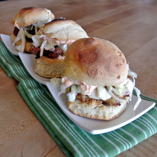 Fried Chicken Sliders with Slaw