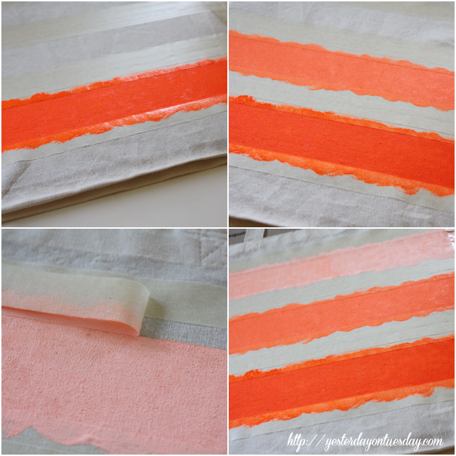 Neon Ombre Striped Tote Painting