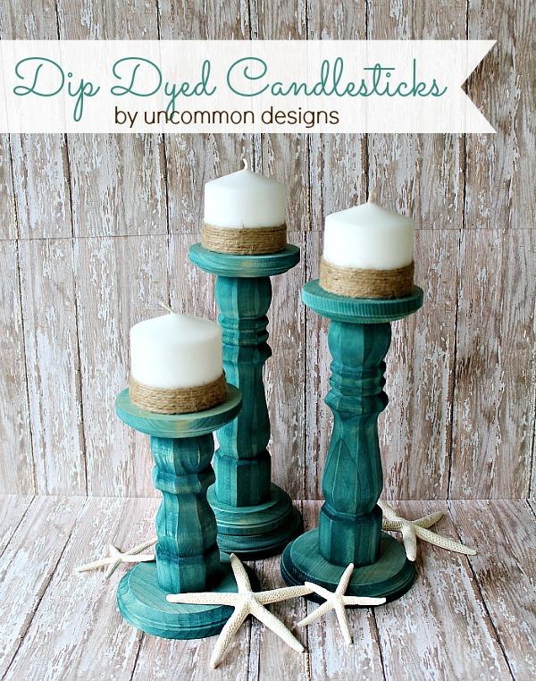 DIY Dip Dyed Candlesticks