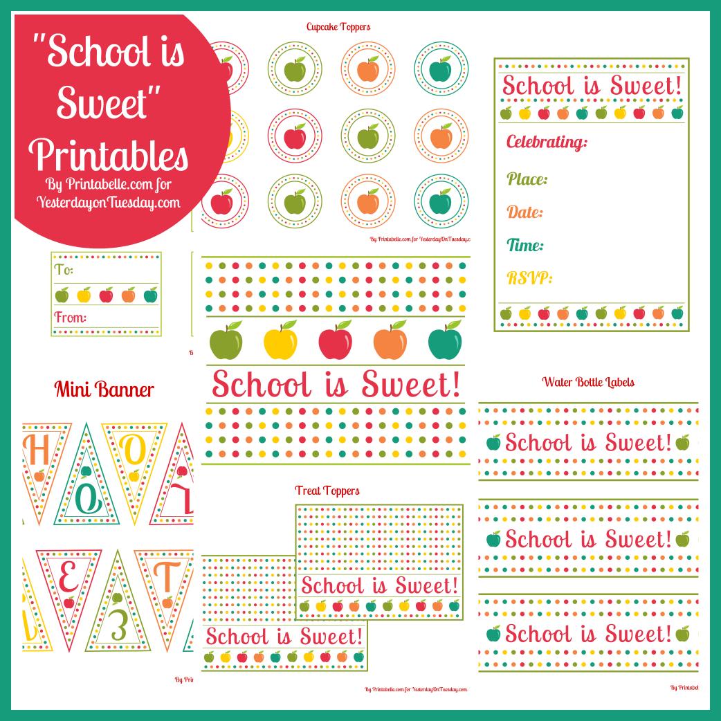 Free Printables School is Sweet