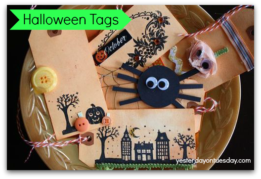 Dyed Halloween Tags