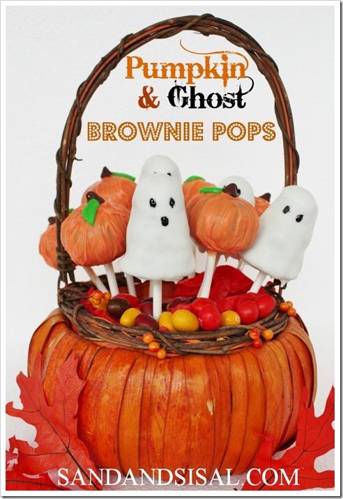 Pumpkin & Ghost Brownie Pops - Sand and Sisal