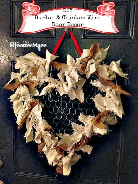 Burlap Heart Wreath by Minettes Maze