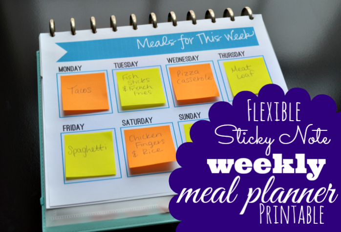 Sticky Note Meal Planner from Mamas Got It Together
