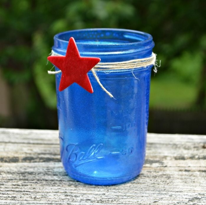 Blue Mason Jar by Artsy Mama