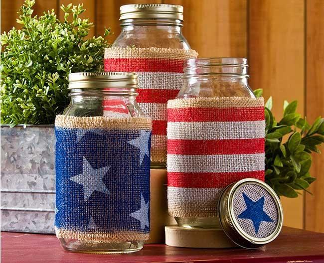 Burlap Wrapped Mason Jars