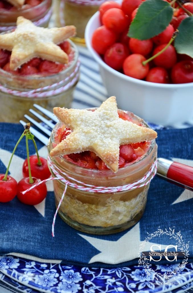 Cherry Pies in Jars with Stars by Stonegableblog.com 7