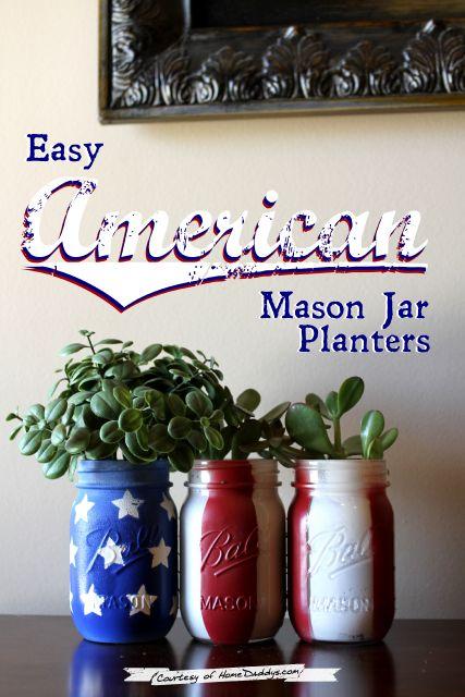 Easy American Mason Jar Planters